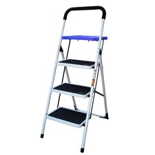 AmeriHome 3-Step Steel Step Ladder with 300 lb. Load Capacity