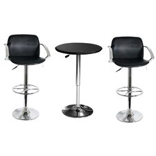 AmeriHome 3 Piece Adjustable Height Dining Table Set