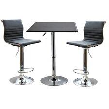 AmeriHome II 3 Piece Adjustable Height Pub Table Set