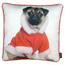 Holiday Pug with Jacket Throw Pillow