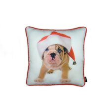 Holiday Bulldog Puppy Throw Pillow
