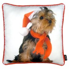 Holiday Yorkie Throw Pillow
