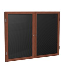 2-Door Wood Frame Enclosed Letter Board