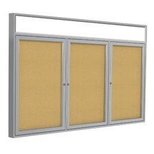 3-Door Aluminum Frame Enclosed Bulletin Board