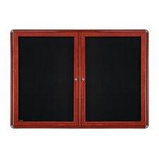 2-Door Wood Look Ovation Fabric Enclosed Bulletin Board, 3' H x 4' W
