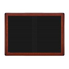 Ovation 2 Sliding Door Wood Look Felt Wall Mounted Letter Board, 3' H x 4' W