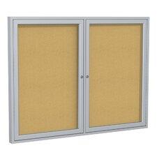 2 Door Aluminum Frame Natural Cork Enclosed Bulletin Board