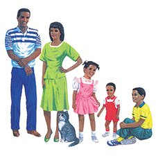 African American Family Bulletin Board Cut Out