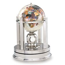Gemstone Globe with Opalite Ocean and Galleon Rotating Base