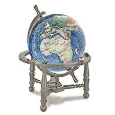 Gemstone Globe Opalite Ocean with Nautical 3-Leg Stand