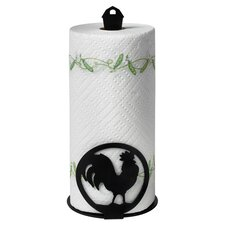 Silhouettez Pantry Rooster Paper Towel Holder in Black