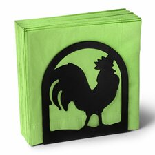 Silhouettez Pantry Rooster Napkin Holder in Black