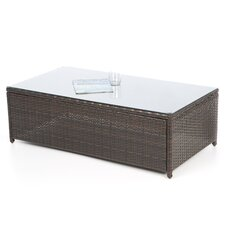 Palm Harbor Outdoor Wicker Glass Top Coffee Table