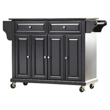 LaFayette Kitchen Island with Solid Black Granite Top