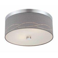 Silver Laser 2 Light Flush Mount