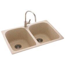 """Metropolitan 33"""" x 22"""" Double Bowl Kitchen Sink"""