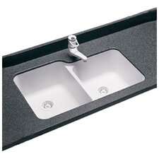 "Swanstone Classics 33"" x 21.25"" Undermount Double Bowl Kitchen Sink"
