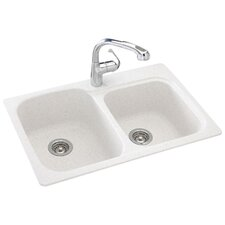 """Everyday Essentials 33"""" x 22"""" Double Bowl Kitchen Sink"""