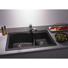 "Swanstone Classics 33"" x 22"" Large/Small Bowl Kitchen Sink"