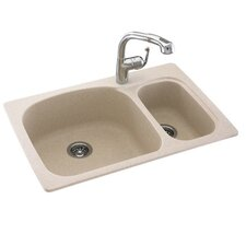 """Swanstone Classics 33"""" x 22"""" Large/Small Double Bowl Kitchen Sink"""