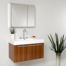 "Senza 36"" Single Vista Modern Bathroom Vanity Set with Mirror"