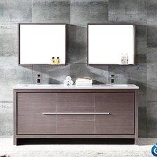 "Trieste Allier 72"" Double Modern Sink Bathroom Vanity Set with Mirror"