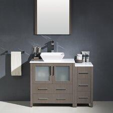 "Torino 42"" Single Modern Bathroom Vanity Set with Mirror"