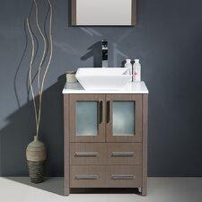 "Torino 24"" Single Modern Bathroom Vanity Set with Mirror"