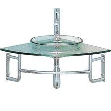 "Vetro 24"" Single Ordinato Modern Corner Mount Bathroom Vanity Set"