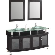 "Classico Contento 60"" Modern Double Sink Bathroom Vanity Set with Mirrors"