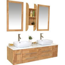 "Stella 59"" Double Bellezza Modern Vessel Bathroom Vanity Set with Mirrors"