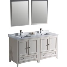 """Oxford 60"""" Double Traditional Bathroom Vanity Set with Mirrors"""