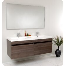 "Senza 57"" Double Largo Modern Bathroom Vanity Set with Mirror"