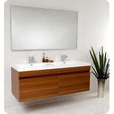"Senza 57"" Double Largo Modern Bathroom Vanity Set with Mirror"