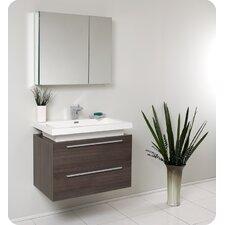 "Senza 31"" Single Medio Modern Bathroom Vanity Set with Mirror"