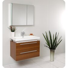 "Senza 31"" Single Medio Modern Bathroom Vanity Set with Mirror"
