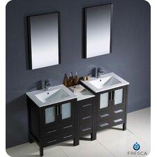 "Torino 60"" Double Modern Sink Bathroom Vanity Set with Mirror"
