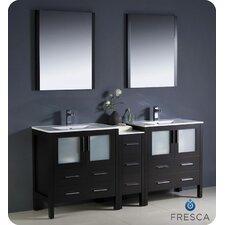"Torino 72"" Double Modern Sink Bathroom Vanity Set with Mirror"