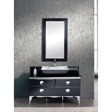 "Moselle 47"" Single Modern Glass Bathroom Vanity Set with Mirror"