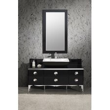 "Moselle 59"" Single Modern Glass Bathroom Vanity Set with Mirror"