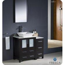 "Torino 36"" Single Modern Bathroom Vanity Set with Mirror"