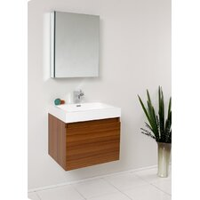 "Senza 24"" Single Nano Modern Bathroom Vanity Set with Mirror"