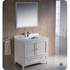 "Oxford 36"" Single Traditional Bathroom Vanity Set with Mirror"