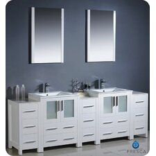 "Bari Torino 84"" Double Modern Bathroom Vanity Set with Mirrors"