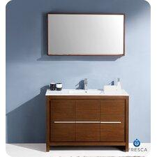 "Allier 48"" Single Modern Bathroom Vanity Set with Mirror"