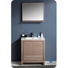 "Allier 30"" Single Modern Bathroom Vanity Set with Mirror"