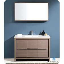 "Allier 48"" Single Modern Bathroom Vanity Set with Mirror"