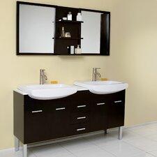 "Stella 59"" Double Vetta Modern Bathroom Vanity Set with Mirror"