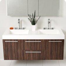 "Senza 54"" Double Opulento Modern Bathroom Vanity Set with Mirror"