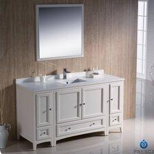 "Oxford 60"" Single Traditional Bathroom Vanity Set with Mirror"